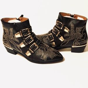 Black Leather Ankle Boots Gold Hardware